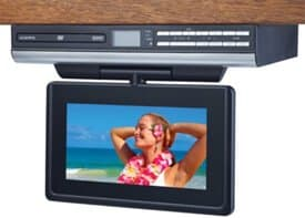 Audiovox VE927 9-Inch LCD Drop-Down TV with Built-In DVD Player and Clock Radio (Silver)